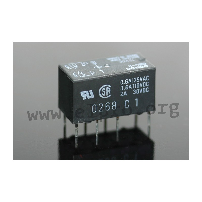 G5V-2 5V, PCB relays 2A, 2 changeover contacts, by Omron - elpro ...