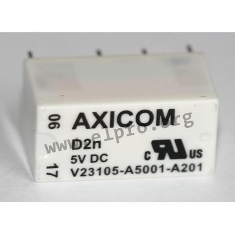 3A V23105-A5301-A201 220VDC DPDT 250VAC AXICOM TE CONNECTIVITY Relay Signal