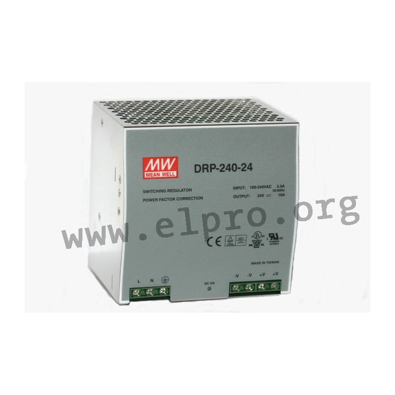 DRP 240 24V 10A, output: 240 W, DRP-240 series by Meanwell - elpro  Elektronik