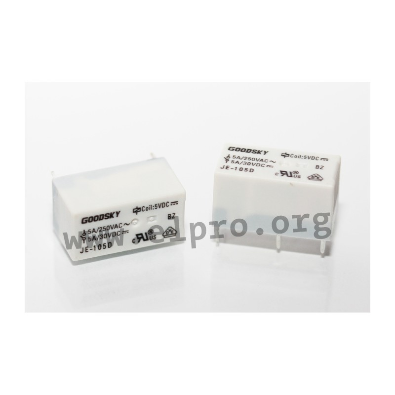 JE-124 D, PCB relays 5-8A, 1 normally open contact or 1 changeover ...