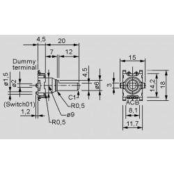Abmessungen EC11J1520401, -J1520601, -J0920801