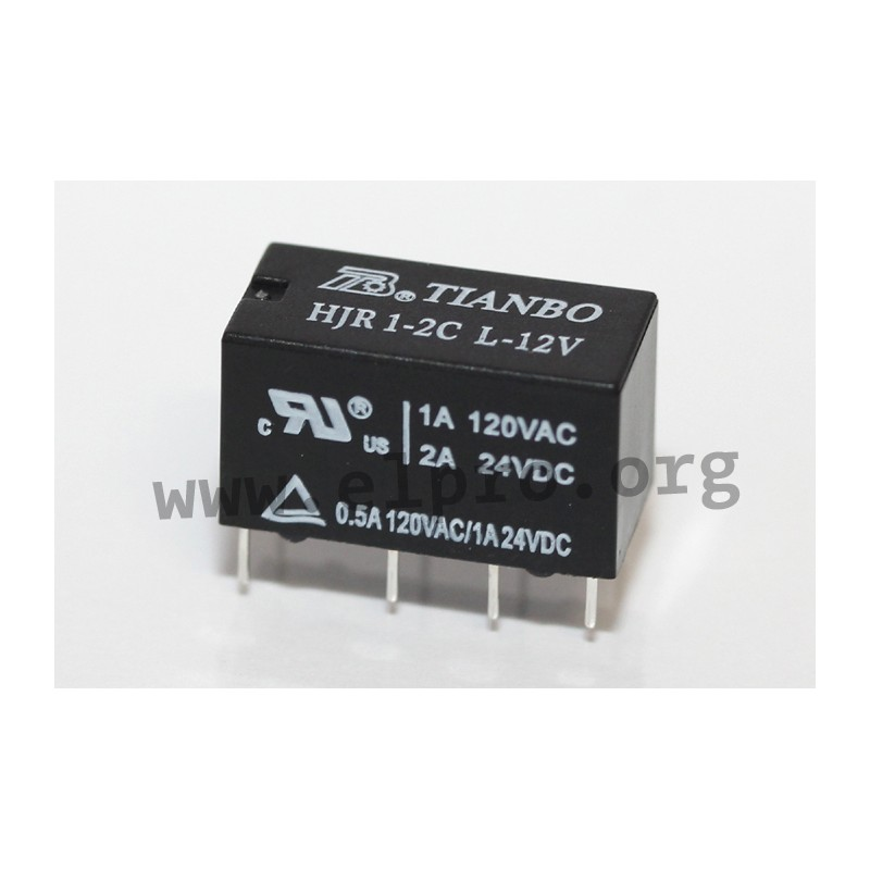 HJR1-2C L-12V DC, PCB relays, 2 changeover contatcs, by Tianbo ...