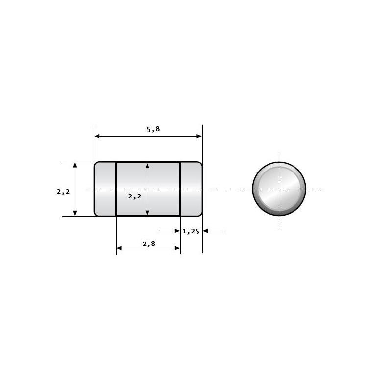 Kohleschicht-Widerstand 82 kOhm 5/% 0,25W Bauform 0207 gegurtet