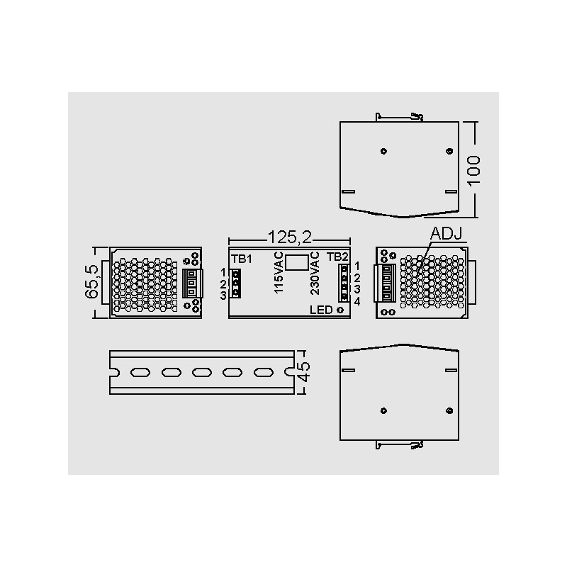 DR 120 24V 5A, output: 120 W, DR-120 series by Mean Well