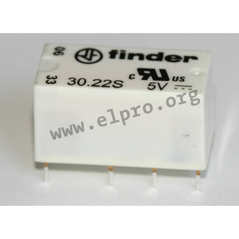 30.22 S 5V, PCB relays 2A, 2 changeover contacts, by Finder - elpro ...