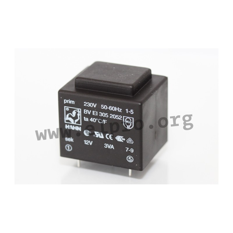 Hahn BVEI 3058022 Print-Transformateur 2,3va 230 V 7,5 V 307 mA transformateur 0,4 W 856478