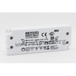 RACD12-350-LP, Recom, Recom LED switching power supplies, 12W, IP20, constant current, RACD12-LP series