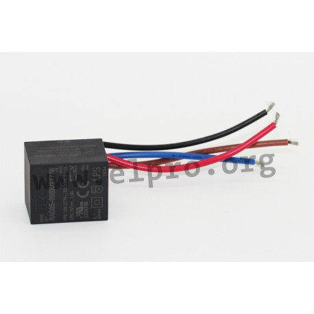 RAC05-12SK/277/W, output 5 watts, single output, stranded wire connection, RAC05-K/277/W series by Recom