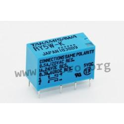 RY-24W-K, Fujitsu/Takamisawa PCB relays, 1A, DPDT, RY series