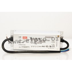 ELG-75-48-3Y, Mean Well LED switching power supplies, 75W, IP67, with protective earth PE, ELG-75 series