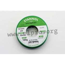 811024, Stannol, 2,5% halogen-free flux, Fairtin Flowtin TSC305, Kristall 600 series