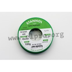 811014, Stannol, 2,5% halogen-free flux, Fairtin Flowtin TSC305, Kristall 600 series