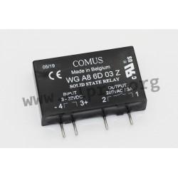 WGA8-6D03Z, Comus solid state relays, 3-5A, 280-480V, triac output, SIP design, WG A8 series