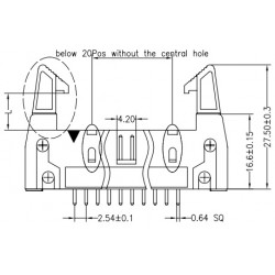3310-40SGOCBLA01, Jin Ling multipole connectors, straight, pitch 2,54mm, with locking levers, 3310 series