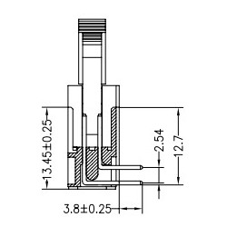 3310-14RGOCBLA01, Jin Ling multipole connectors, 90° angled, pitch 2,54mm, with locking levers, 3310 series