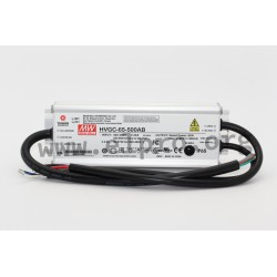 HVGC-65-500AB, Mean Well LED switching power supplies, 65W, IP65, adjustable, high voltage, dimmable, HVGC-65 series