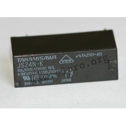 JS-12MN-K,Fujitsu PCB relays, 8A, 1 changeover or 1 normally open contact, JS series
