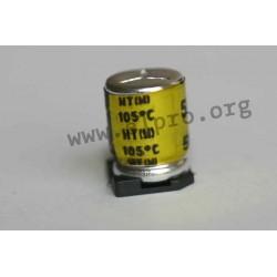 63HT100MLC6.3×5.4EC, KJ Electronics electrolytic capacitors, SMD, 105°C, HT series