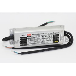 ELG-100-C500B-3Y, Mean Well LED switching power supplies, 100W, IP67, constant current, dimmable, with protective earth PE, ELG-