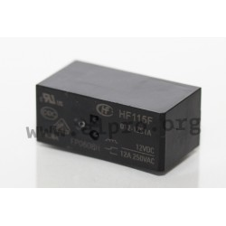 HF115F/012-1ZS3A, Hongfa PCB relays, 8 to 16A, 1 or 2 changeover contacts, HF115F series