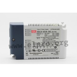 IDLV-45-36, Mean Well LED switching power supplies, 45W, constant voltage, dimmable, IDLV-45 series