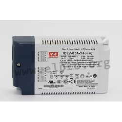 IDLV-65-60, Mean Well LED switching power supplies, 65W, constant voltage, dimmable, IDLV-65 series
