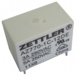 AZ770-1C-12DEK, Zettler PCB relays, 5A, 1 normally open contact, AZ770 series