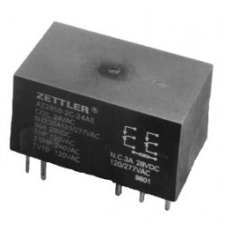 AZ2850-2AE-24D, Zettler PCB relays, 40A, 2 changeover or 2 normally open contacts, AZ2800 and AZ2850 series