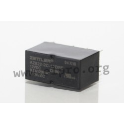 AZ822-2C-6DSE, Zettler PCB relays, 2A, 2 changeover contacts, AZ822 series