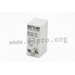 AZ763-1A-5D, Zettler PCB relays, 12A, 1 changeover or 1 normally open contact, AZ763 series