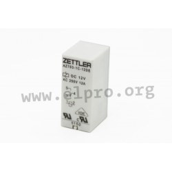 AZ763-1C-24D, Zettler PCB relays, 12A, 1 changeover or 1 normally open contact, AZ763 series
