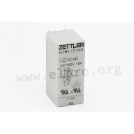 AZ764-1AE-24D, Zettler PCB relays, 16A, 1 changeover or 1 normally open contact, AZ764 series