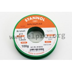813003, Stannol, 2,5% halogen-activated flux, Fairtin Flowtin TSC305, Kristall 611 series