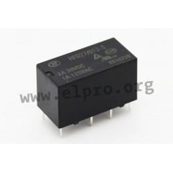 HFD27/005-S, Hongfa PCB relays, 2A, 2 changeover contacts, HFD27 series