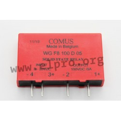WGF8-100D05, Comus solid state relays, 1,5 to 10A, 50 to 400V, MOSFET output, DC current, SIL housing, WGF8 series