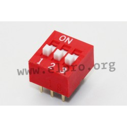 NDS-03V, Diptronics DIL switches, pitch 2,54mm, NDS series