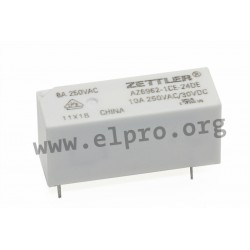 AZ6962-1CE-24DE, Zettler PCB relays, 10A, 1 changeover or 1 normally open contact, AZ6962 series
