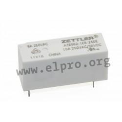 AZ6962-1CE-24DE, Zettler PCB relays, 10A, 1 changeover or 1 normally open contact, AZ6962 series