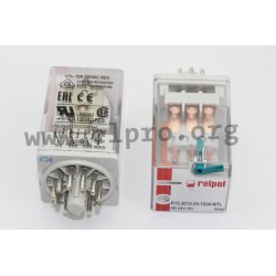 R15-2013-23-1012-WT, Relpol industrial relays, 10A, 3 changeover contacts, R15 series