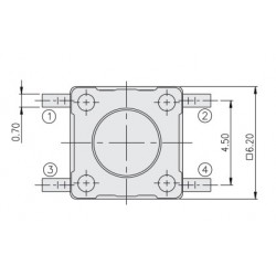 DTSM-61R-V-T/R, Diptronics tact switches, SMD, 6x6mm, DTSM6 series
