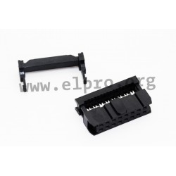 5314-14YBSOBW01, Jin Ling IDC female headers, pitch 2,54mm, low cost, 5314 series