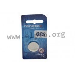 CR2025.MFR.SC, Renata lithium manganese dioxide button cells, single packed, CR series