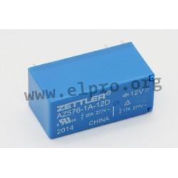 AZ576-1A-12D, Zettler PCB relays, 20A, 1 changeover or 1 normally open contact, AZ576 series