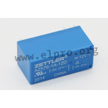 AZ576-1C-24D, Zettler PCB relays, 20A, 1 changeover or 1 normally open contact, AZ576 series