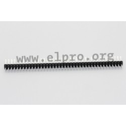 087-2-080-0-T-XS0, MPE Garry pin headers, pitch 2,54mm, double-row, straight, 087 series