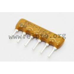 4606X-101-222LF, Bourns resistor networks, 6 pins/5 resistors, 4600X series