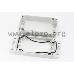 1555HF42GY, Hammond plastic enclosures, with flanges, grey, IP68, 1555F series