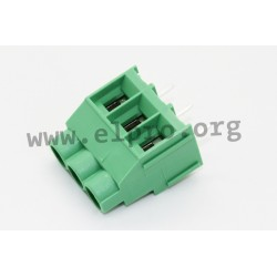 DG636-6.35-03P-14-00AH, Degson terminal blocks, pitch 6,35mm, 24A, 450V, screw-cage clamp principle, DG636-6.35 series