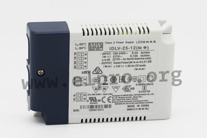 LED Netzteil 40W 12V 3,33A ; MeanWell HLG-40H-12B ; dimmbar 1-10V PWM